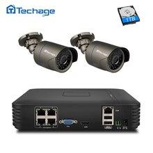 Techage 4CH 1080 P HDMI POE NVR Kit CCTV-System Im Freien IP66 wasserdichte 2 stücke 2MP Ip-kamera HD Sicherheitsüberwachung Set APP Ansicht
