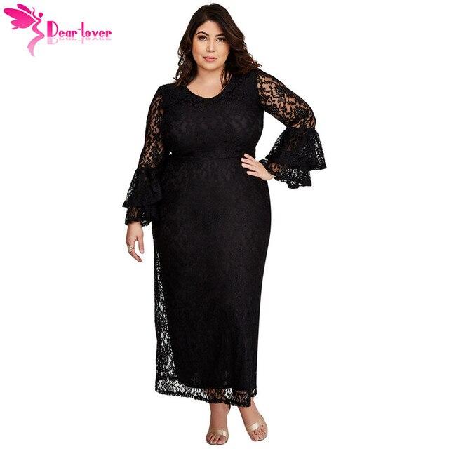 e7d3114be Dear Lover 2018 Autumn Women Fashion Big Size Black Lace Bell Sleeve Plus  Size Maxi Party Dress Vestidos de Festa Longo LC610353