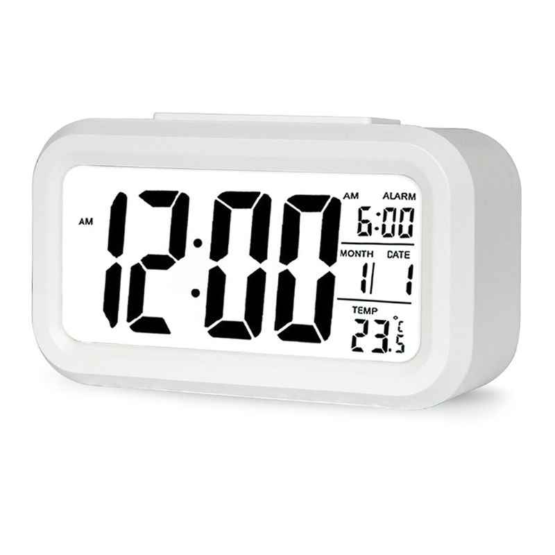 LCD Night Light Electronic Smart Digital Alarm Clock Date Temperature Display Repeating Snooze