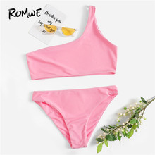 7d4226e726 Romwe Sport Pastel Bright Solid One Shoulder Top With Panty Bikini Set  Without Chest pad Women Summer Wire Free Beach Swimwear