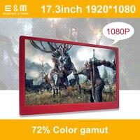 E & M дюймов 17,3 дюймов Ultra Slim 1080 * 72% NTSC 1920 ips игры Экран Дисплей HDMI ЖК дисплей Панель модуль мониторы портативных ПК Raspberry Pi 3 автомобиля