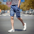 2017 Summer Mens Jeans Shorts Blue Straight Male Denim Shorts Pockets Cargo Designs Bermuda Short Pant Casual men shorts homme