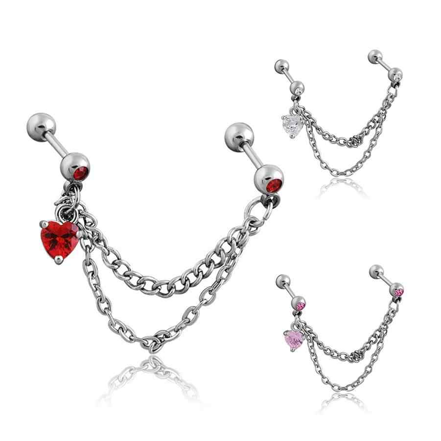 Punk Women ear cartilage Earrings Tassel Tragus Piercing CZ Heart Pendant Industrial Earrings Barbell Piercing Orelha Helix