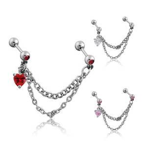 Punk Women ear cartilage Earrings Tassel Tragus Piercing CZ Heart Pendant Industrial Earrings Barbell Piercing Orelha Helix