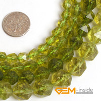 Faceted Dyed Peridot Crystal Beads For Cambay DIY Loose Beads For Jewelry Making Beads Strand 15