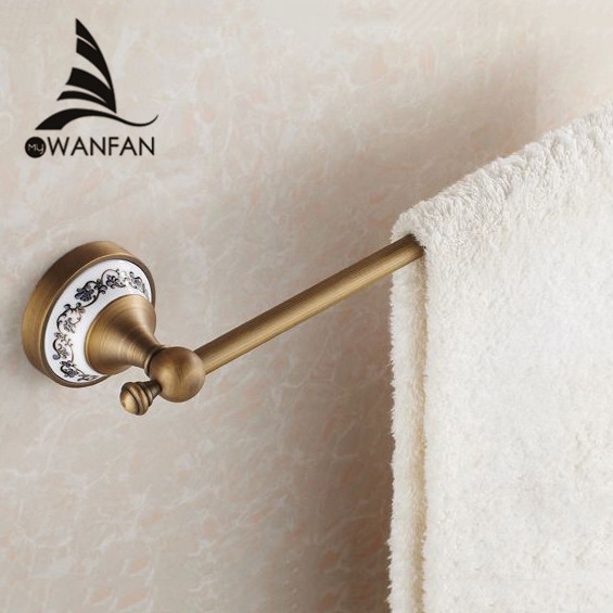 цены Towel Bars 60cm Single Wall Mounted Towel Bar Towel Holder Solid Brass Antique Finish Bath Products Bathroom Accessories HJ-1810