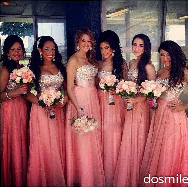 2016 elegante color Coral Sweetheart dama de honor vestidos con ...