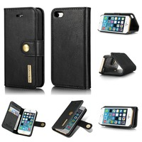 For Iphone 5 5S 2 In 1 Luxury Magnetic Wallet Detachable Cow Leather Cover Case For