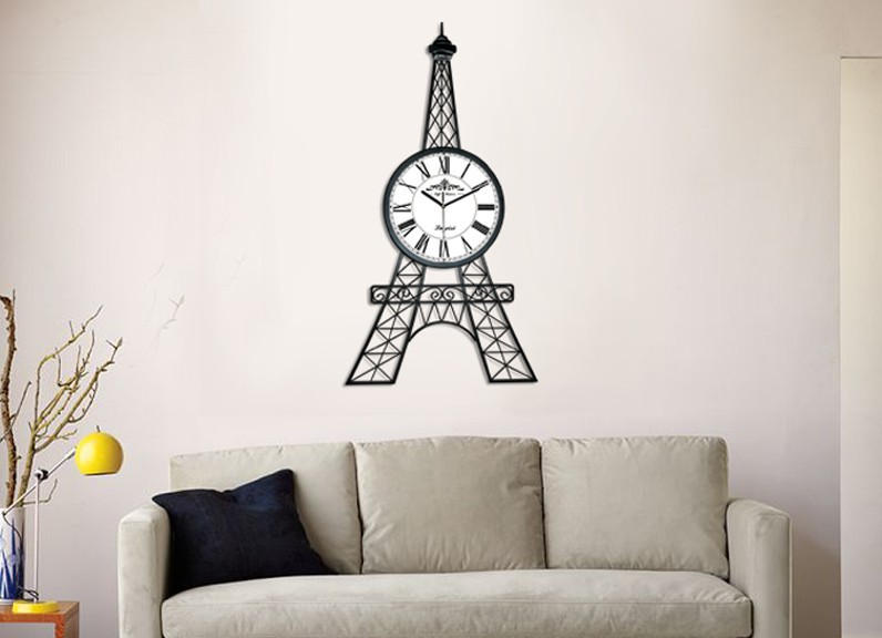 ... Unique Modern Large 90cm Height Eiffel Tower Wall Clock For Living Room  Big Metal Black Wall ...