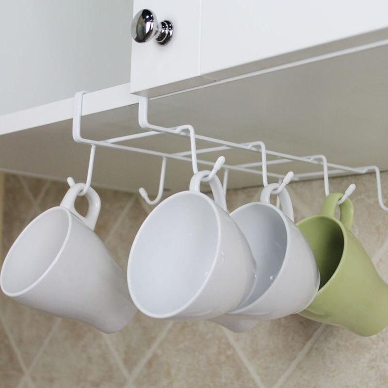 Cup Holder Free Nail 8-hooks Hanging Rack Kitchen Bathroom Tools Utensil Holder Shelf TB Sale