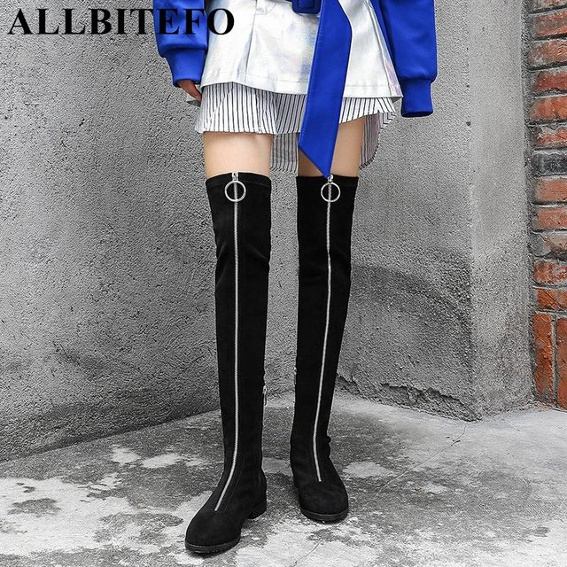 d5cacbd34ea ALLBITEFO Elastic flock comfortable girls over the knee boots Spring Autumn  fashion sexy thigh high boots