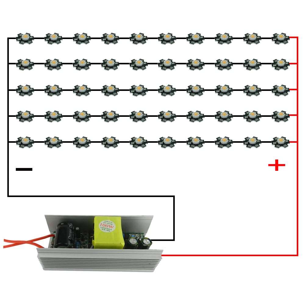 Grow light for houseplants - Diy 100w Led Grow Light Full Spectrum With100w Power Supply Driver 50pcs 3w 380 840nm 45mil Led Grow Chip For Green House Plants