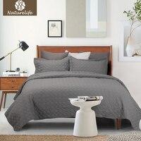 Naturelife Grey Quilt Set Cirkel Sprei Sprei Gewatteerde Beddengoed Set Dekbedovertrek Kussensloop Quilts Warm Coverlet Sets