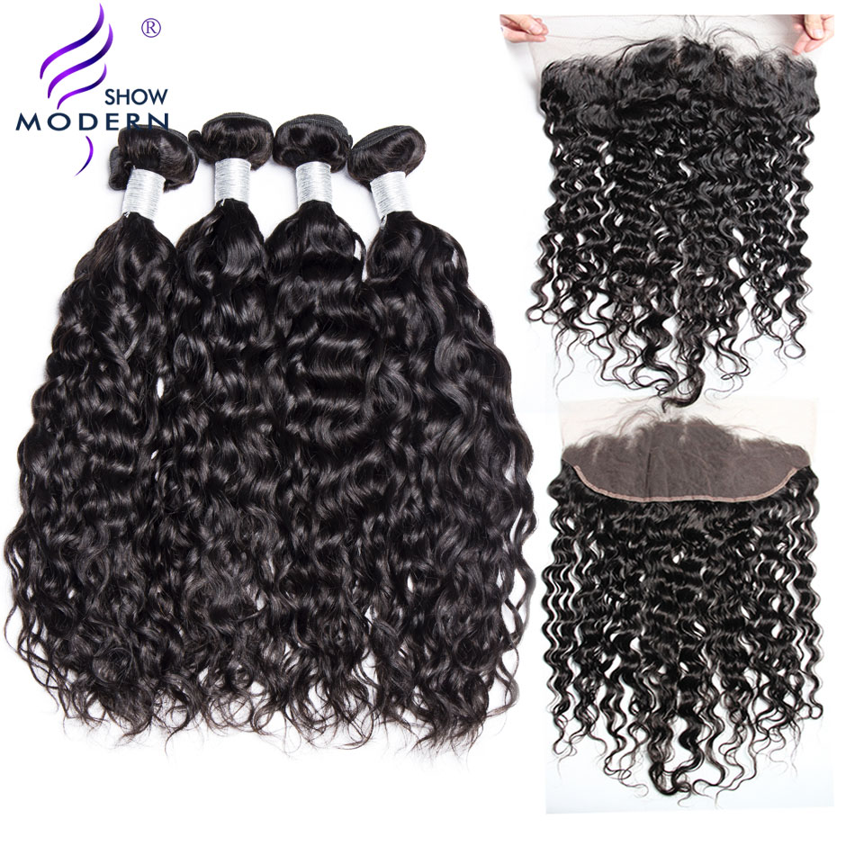Modern Show 3 Pcs Brazilian Water Wave Human Hair Bundles With Closure Pre Plucked Lace Frontal