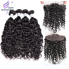 Modern Show 3 Pcs Brazilian Water Wave Human Hair Bundles With Closure Pre Plucked Lace Frontal Closure With Bundles Deals Remy(China)