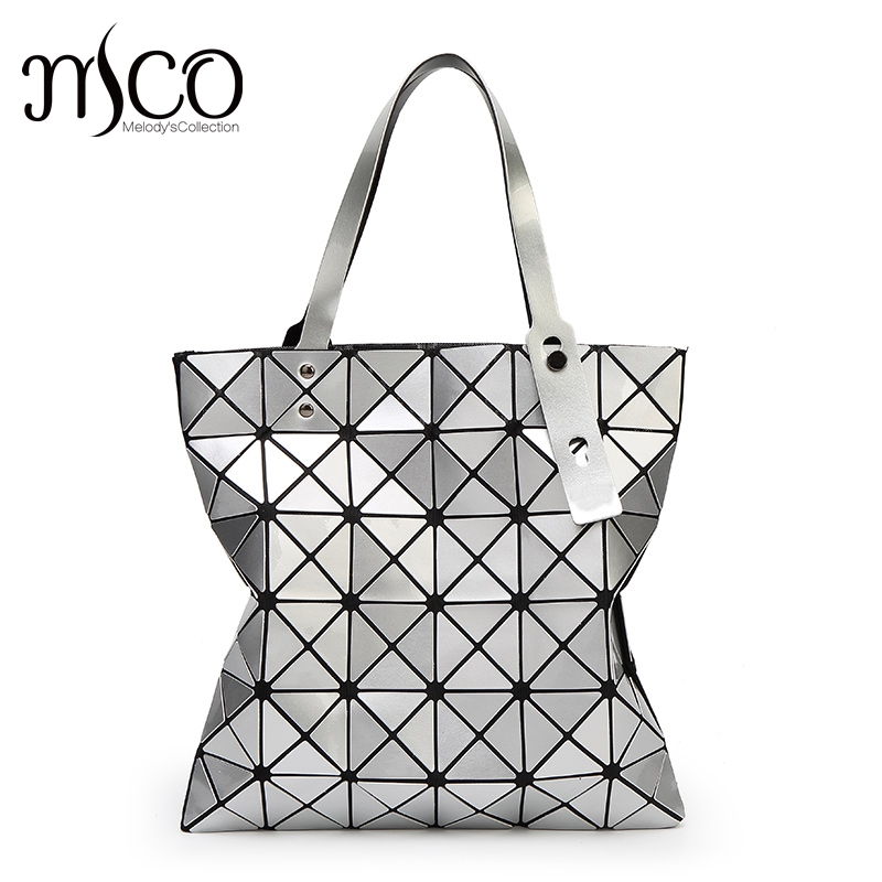 15 colors Japan Women Geometry Bao Tote Shimmer Handbag Laser Diamond Lattice Shopper Folding Bag Hologarphic Cube Shoulder Bags valentine s day petals heart pattern waterproof table cloth