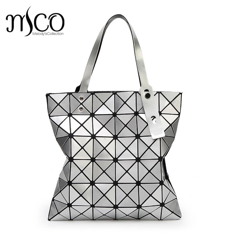 15 colors Japan Women Geometry Bao Tote Shimmer Handbag Laser Diamond Lattice Shopper Folding Bag Hologarphic Cube Shoulder Bags