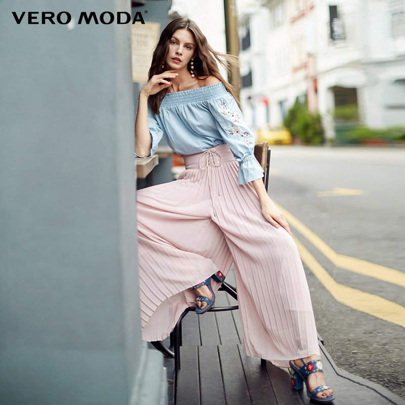 Vero Moda Tie up Wide Waistband Pleated Wide leg Cropped Pants 318150518