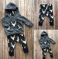 Venta caliente la ropa del bebé Ciervos lindos del bebé niños ropa Larga encapuchado de la manga T + pants 2 unids moda niños bebés ropa set