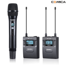 COMICA CVM-WM300B/D Metal UHF 96-channels Wireless Mono/Stereo Lavalier Interview Microphone with Built-in Battery for Canon Nik