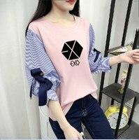 kpop streetwear Spring summer Korean EXO loose wild fake two T shirt female Fresh and sweet stripe splice t shirt women clothing
