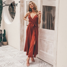 Simplee Sexy floral print jumpsuits women V neck split spaghetti strap long overalls  Summer beach loose female  jumpsuit 2019