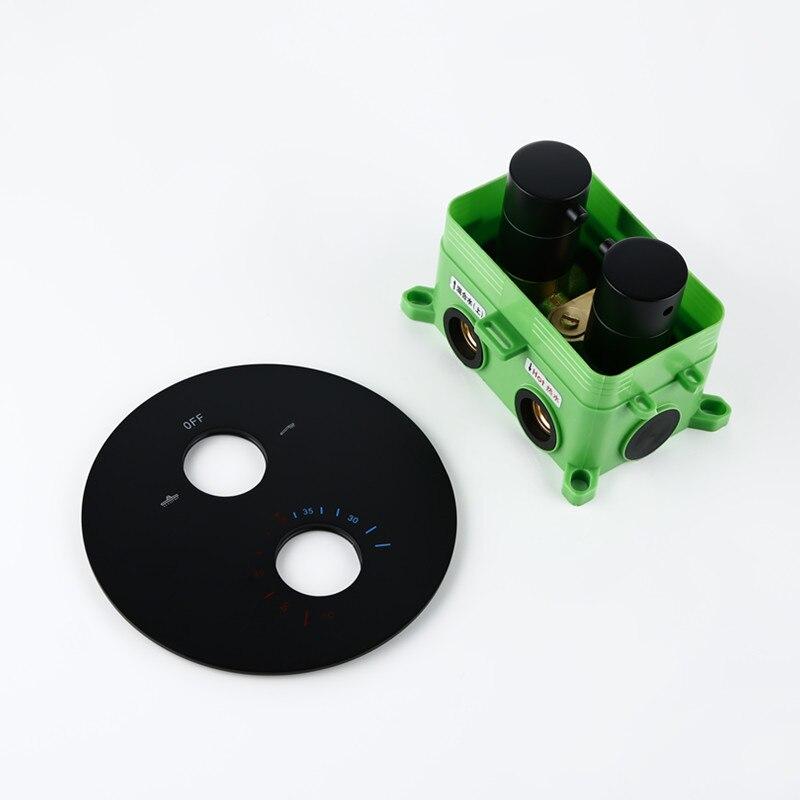 Smesiteli okrągły styl czarny matowy wykończenie termostatyczny rozdzielczy prysznic kran mikser 2 sposób lub 3 Way 2 uchwyty mosiądz ukryte ścienne