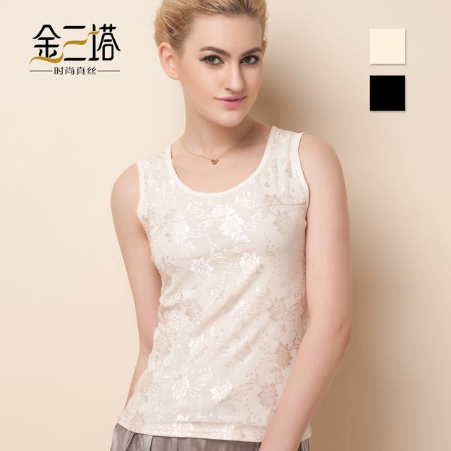 Primavera y verano mujeres de seda de mora de seda del remiendo del cordón pequeño chaleco camisa básica