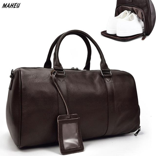 """Модные Для мужчин из натуральной кожи дорожная сумка из мягкой коровьей кожи большой вещевой большой Ёмкость 18 """"Чемодан выходные сумка черного цвета человек сумка"""
