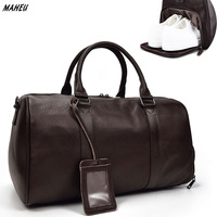 MAHEU 100% Genuine Men Leather Travel Bag Cowskin Big Duffel Large Capacity Bag For Shoes Black Man Weekend Bag Carry On Luggage