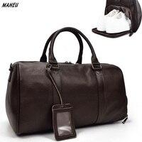 MAHEU Men Genuine Leather Travel Bag Tote Big Duffel Large Capacity Sport Bag For Shoes Black Man Weekend Bag Carry On Luggage