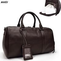 MAHEU Men Genuine Leather Travel Bag Tote Cowskin Big Duffel Large Capacity Bag For Shoes Black Man Weekend Bag Carry On Luggage