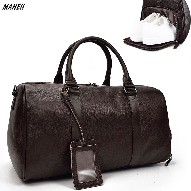 MAHEU Men Genuine Leather Travel Tote Bag Big Duffel Large Capacity Travel Handbag Black Man Weekend Bag Carry On Luggage