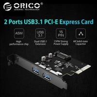 ORICO PA31 2P 2 Ports USB3.1 Desktop Computer Board PCI E ASM High Speed Express Card 10Gbps Hot Swap 15pin power supply Black