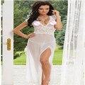 2016 Venda Hot New Sexy V Neck Lace Camisola Pijamas Mulheres Lingerie de Cetim Camisola Vestes Cinto Camisola Babydoll