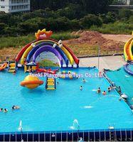 large sport games kids adults mobile floating waterpark equipment swimming pool ocean sea lake inflatable water slides