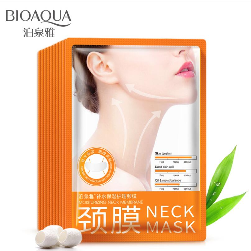 Factory Price 100pcs BIOAQUA Hyaluronic Acid Neck Mask Lifting Firming Moisturizing Whitening Mask Silk Smooth Beauty