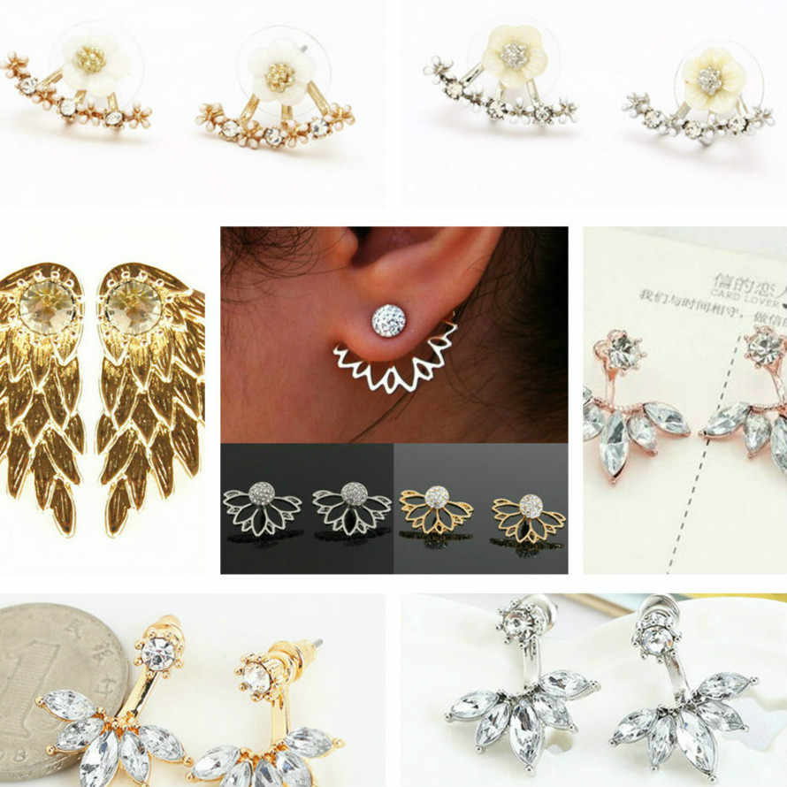 1pcs Attractive Metal Process Luxury Clip Earrings For Women Round With Cubic Zircon Charm Flower Earring Women Jewelry
