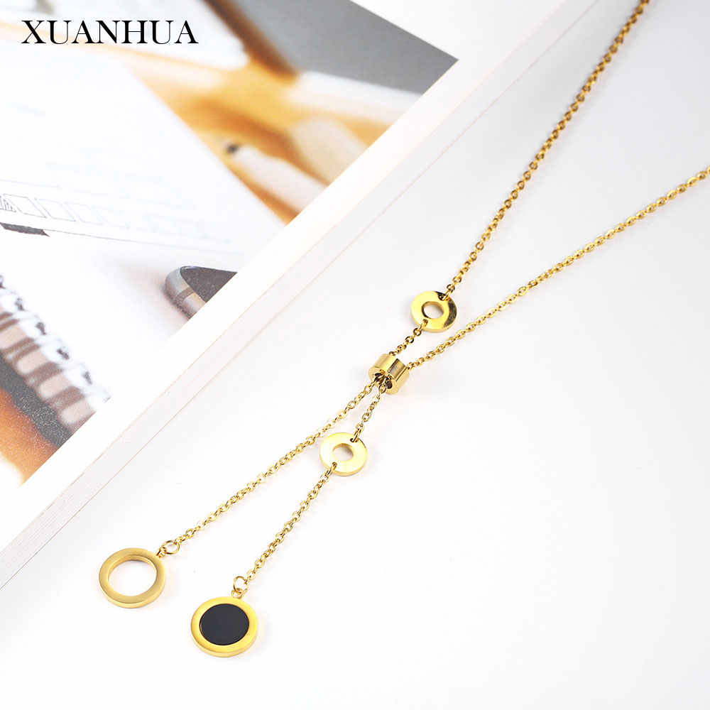 XUANHUA Necklace Stainless Steel Jewelry Woman Vogue 2019 Long Charm Necklace Boho Jewelry Accessories Valentines Day Gift