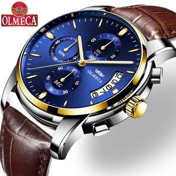 b19714310bcf Reloje 2018 OLMECA hombres reloj hombre cuero cuarzo relojes para hombre  marca de lujo impermeable reloj deporte azul Relogio Masculino