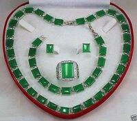 Argent réel-bijoux des Femmes De Mariage Belle joyau vert collier bracelet boucle d'oreille bague Bijoux ensemble taille 9-11 #