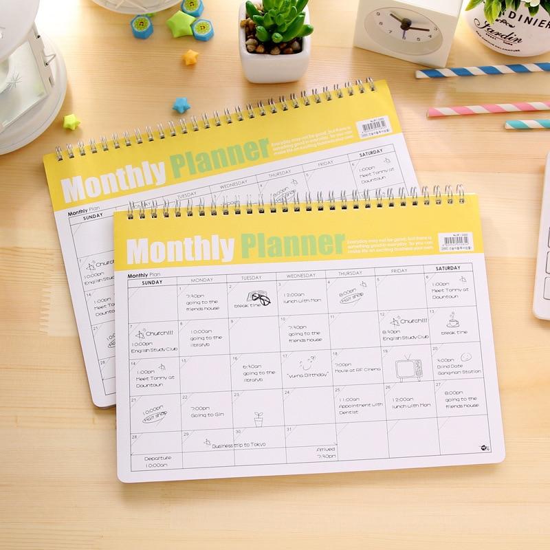 Corea Kawaii Cancelleria Memorandum Efficienza Manuale Bobina A Spirale Mensile Planner Carino Schedule Libro Notebook
