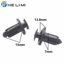 KELIMI 100Pcs 7mm Hole Black Plastic Rivet Auto Panel Push Clip Retainer For Toyota