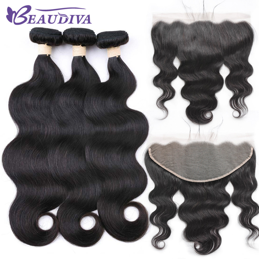 Beaudiva Hair Body Wave Human Hair 13 6 Lace Frontal Closure With Brazilian Hair Weave 3