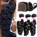 Indian Virgin Hair Loose Wave Lace Closure With 3 Bundles Raw Indian Hair Bundles With Closure Indian Loose Wave Hair Bundles