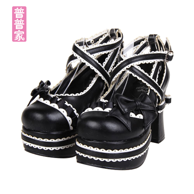 Princess sweet lolita shoes Summer fashion and adorable sweet soft sister punk shoes bow tie round head super high heel pu9802 босоножки sweet shoes sweet shoes sw010awbksf5