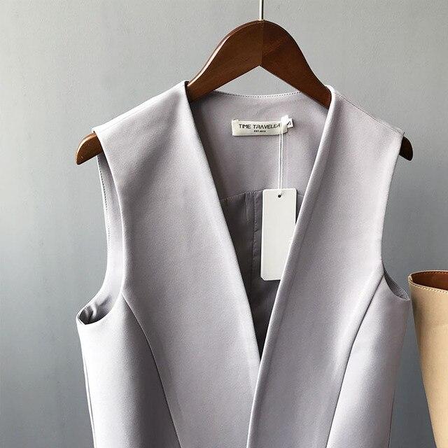 Décontracté noir femmes gilet printemps élégant Long manteau femme Cardigan col en v poche grande taille gilet dames veste sans manches