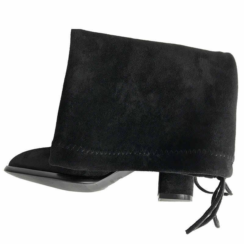 Sahte Süet Konfor Kalın Topuk Uyluk Yüksek Çizmeler Kadın Diz Çizmeler üzerinde Kış Kadın moda ayakkabılar Geri dantel-up siyah Gri