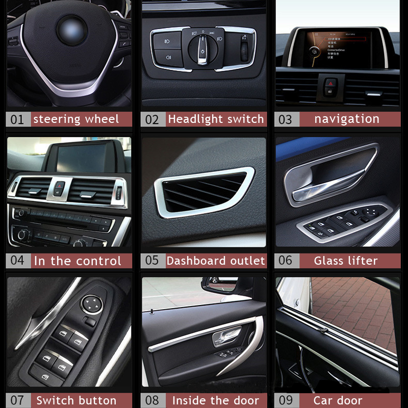 For <font><b>BMW</b></font> new <font><b>3</b></font> <font><b>Series</b></font> 2013-16 <font><b>GT</b></font> 316 320 interior modification steering wheel sequins central control outlet decorative frame image