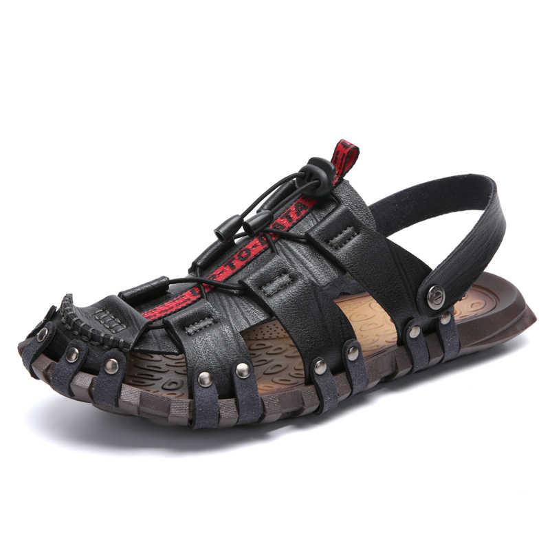 Vastwave Yeni Casual Erkek Yumuşak Sandalet Rahat Erkek Yaz Deri Sandalet Erkekler Roma Yaz Açık plaj sandaletleri Büyük Boy 47